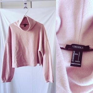 F21 Pink Ribbed Knit Cowl Neck Sweater